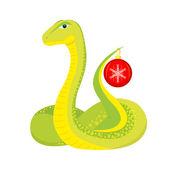 Snake with Christmas ball — Stock Vector