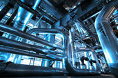 Equipment, cables and piping as found inside of industrial powe — ストック写真