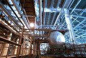 Industrial zone, Steel structures — Stock Photo