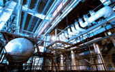Industrial zone, Steel pipelines and equipment — Stock Photo