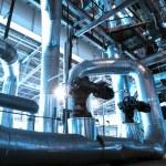 donanımları, kablolar ve borular modern Endüstr içinde bulunan — Stok fotoğraf