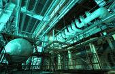 Industriezone, stahl-rohrleitungen und anlagen — Stockfoto