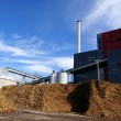 Stock Photo: Bio power plant with storage of wooden fuel