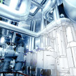 Sketch of piping design mixed with industrial equipment photo — Stock Photo #33319159