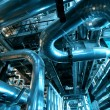 Industrial zone, Steel pipelines in blue tones — Stock Photo #33392225