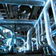 Stock Photo: Industrial zone, Steel pipelines in blue tones