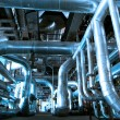 Industrial zone, Steel pipelines in blue tones — Stock Photo #33392227