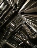 Industrial zone, Steel pipelines and equipment — ストック写真