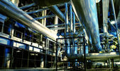 Industrial zone, Steel pipelines and equipment — Fotografia Stock