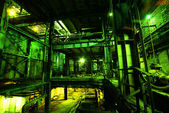Old factory in green tones — Foto de Stock