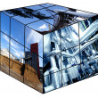 Rubik's cube with industrial images — Stock Photo