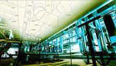Sketch of piping design mixed with industrial equipment photos — Stock Photo