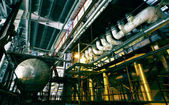 Industrial zone, Steel pipelines and cables — Stock Photo
