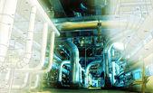 эскиз трубопроводов дизайн смешивается с фото промышленного оборудования — Стоковое фото