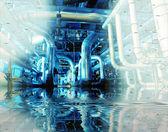 Boceto de diseño de tuberías mezclado con la foto de equipo industrial — Foto de Stock
