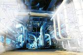 Schets van leidingen ontwerp gemengd met industriële apparatuur foto — Stockfoto