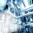 Sketch of piping design mixed with industrial equipment photo — Stock Photo #50106161