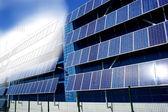 Panneau solaire dessin mélangé avec photo — Photo