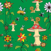 Seamless pattern. Plants, insects, and fungi. — Stock Vector
