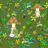 Seamless pattern. Plants, insects, and fungi. — Vettoriale Stock