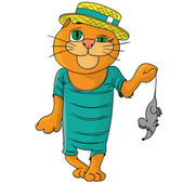 Hilarious cat in a straw hat. — Stockvector