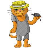 Zabawne kot w słomkowym kapeluszu. — Wektor stockowy