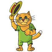 Gracioso gato en un sombrero de paja. — Vector de stock