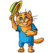Chat hilarant dans un chapeau de paille. — Vecteur