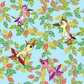 Kleine vögel singen lieder. nahtlose textur. — Stockvektor