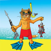 Cat on a fishing vacation. — Stock Vector