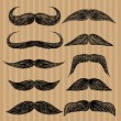 Stock Vector: Different types of mustaches. Retro style.