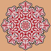 Krásný krajkový vzor. kruhovém pozadí. — Stock vektor