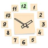 часы настенные навесные на листы бумаги — Cтоковый вектор