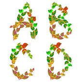 English alphabet made ​​up of branches and leaves. — Stock Vector
