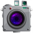 Compact camera with a lens. — Stock Vector