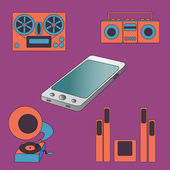 Many functions carries a modern mobile phone. — Vector de stock