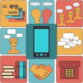 Viele funktionen trägt ein modernes mobiltelefon. — Stockvektor