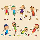 Little toy men play, run, jump. — Stock Vector