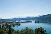 Panorama del lago woerther — Foto Stock