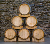 Barrels in a pyramid — Stockfoto