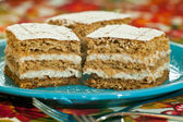 Nutty cake with sour creme — Stock Photo