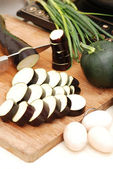 Cut food in the kitchen — Stock Photo