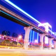 Traffic in China Chong Qing at night - Stock Photo