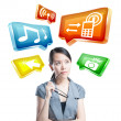 Young business woman working with innovative virtual interface — Stock Photo #14030277