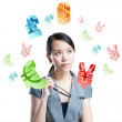 Young women side full of all kinds of money symbols — Stock Photo #14036168