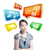 Young business woman working with innovative virtual interface — Stock Photo