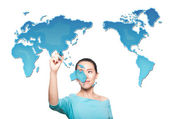 Map of the world women — Stock Photo