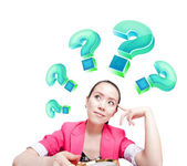 Is full of question marks thinking women — Stock Photo