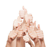 Hand of business group with thumbs up — Stock Photo