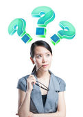 The Asian women thinking about and filled with the question mark — Stock Photo